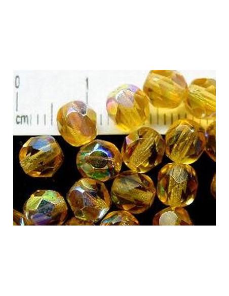 echte Glasperlen 6 mm, Facettschliff, Fb.: Honig