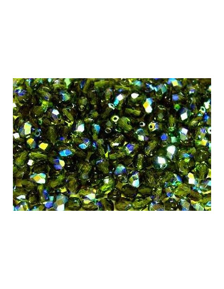 echte Glasperlen 6 mm, Facettschliff, Fb.: Grün