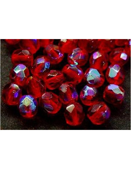 echte Glasperlen 6 mm, Facettschliff, Fb.: rot